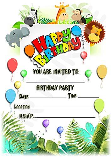 Invitaciones para fiestas de cumpleaños infantiles con diseño de animales de la selva, 12 invitaciones tamaño A5 WITHOUT Envelopes
