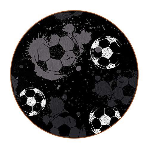 6 posavasos cuadrados de microfibra de piel antideslizante y resistente a los arañazos para el hogar, cocina, oficina, bar, decoración, fútbol, gris, negro y blanco