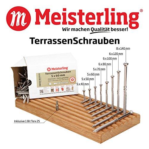 Meisterling TerrassenSchrauben 8 x 120 mm Edelstahl/INOX gehärtet