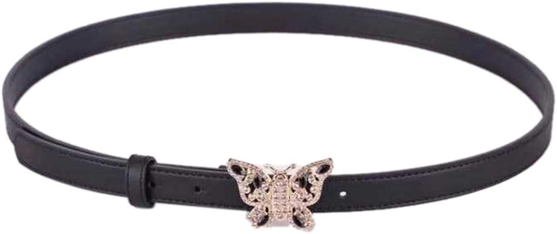G Style Belt Womens Butterfly Ornament Belt Rhinestone Studded Leather Perforated Waist Belt