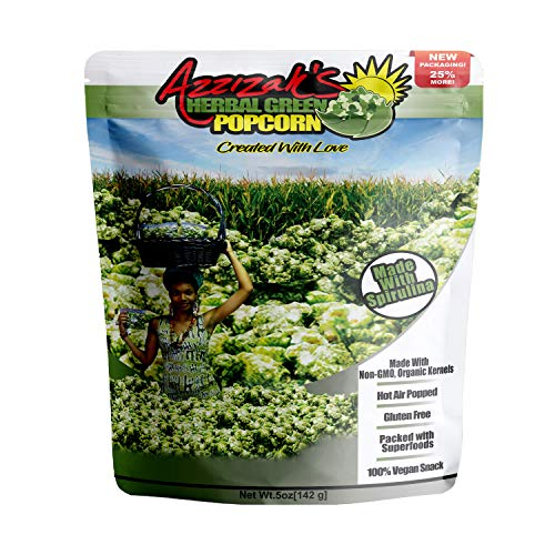 Check Out This Azzizah's Herbal Green Popcorn - Gourmet Popcorn Super Food Snack |Gluten Free | Vega...