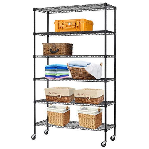 HCB 6-Tier Storage Shelf Heavy Duty Wire Shelving Unit Height Adjustable Metal Steel Wire with Casters for Restaurant Garage Pantry Kitchen Rack (Black)