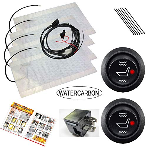 WATERCARBON Tech Era Carbon Fiber Seat Heater Kit Hi/Lo Setting, 2 Seats