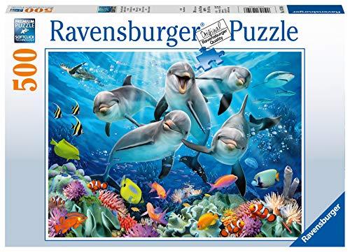 Ravensburger Puzzle 14710 - Delfine im Korallenriff - 500 Teile Puzzle für Erwachsene und Kinder ab 10 Jahren, Puzzle mit Unterwasserwelt-Motiv
