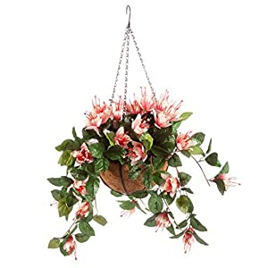 OakRidge Fully Assembled Artificial Fuchsia Hanging Basket, Pink – Polyester/Plastic Flowers in Metal/Coco Fiber Liner Basket for Indoor/Outdoor Use