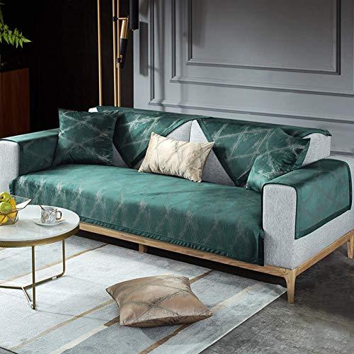 Liabb Pet-Schutz-Abdeckung Anti-Rutsch-Leder-Sofa-Couch Husse Möbel Sofabezüge Samt-Sofa-Abdeckung für Wohnzimmer,Grün,70 * 210cm