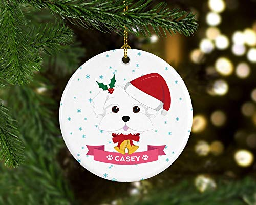 Toll2452 Maltese Dog Ornament Personalized Christmas Ornament Maltese Gift Custom Dog Ornaments