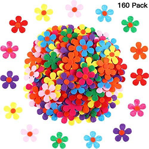 Filz Blumen Stoff Blumen Verzierungen für DIY Handwerk, Verschiedene Farben (200 Stücke)