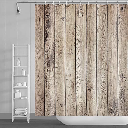 LFEEY Brown Rustic Wood Shower Curtain Farmhouse Style Western Country Primitive Wood Panel Shower Curtain Barn Door Bathroom Curtain with Hooks,72x72 Inch Waterproof Polyester Fabric