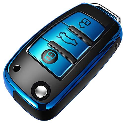 COVELL für Audi Autoschlüssel Hülle, Prämie Weiches TPU Schutzhülle Schlüsselhülle für Audi A1 A3 A6 Q2 Q3 Q7 TT TTS R8 S3 S6 RS3 RS6 Autoschlüssel, Blau