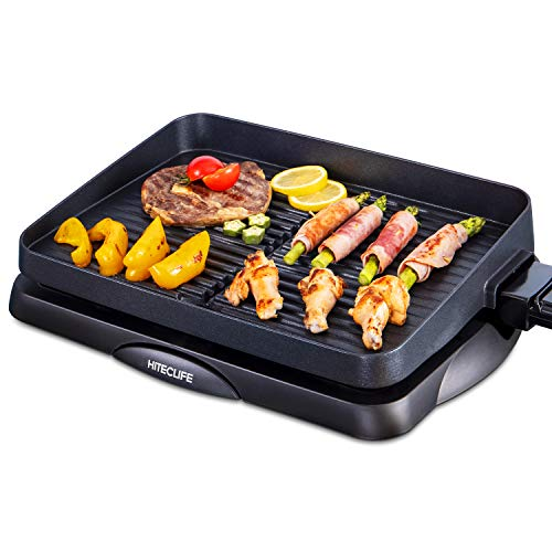 Indoor Grill Smokeless Electric Nonstick BBQ Grill Dishwasher Safe 14 inch Griddle, 1500W Detachable Contact Grilling with Smart 5-Heat Temp Controller, Fast Heat Up Family Size Tabletop Plate Black