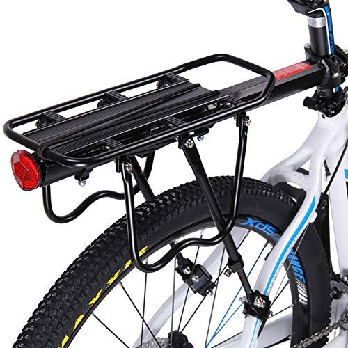 TBBA Bike Cargo Rack, 110Lb Capacity, Adjustable Universal Rear Bike Rack, Easy To Install, with Reflective Logo, Cycling Equipment, Footstock, Luggage Carrier Racks - Black
