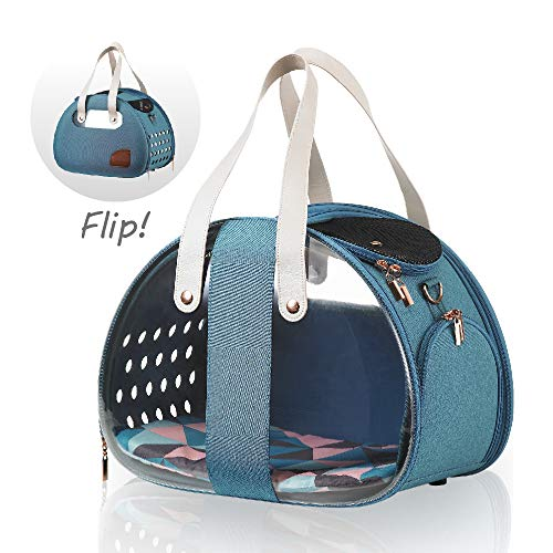 ibiyaya Top Loaded Pet Carrier for Cats and Dogs, Collapsible Made from Suitcase Material a Great Alternative to pet Kennel and Dog Carrier Purse (Turquoise) Dog Pet Carrier Teacup