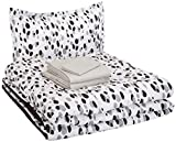 AmazonBasics Easy Care Super Soft Microfiber Kid's Bed-in-a-Bag Bedding Set - Twin, Black Shadow Dots