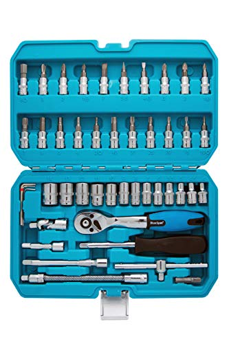 Blue Sport 01530 Jeu de 46 douilles et embouts Chrome vanadium