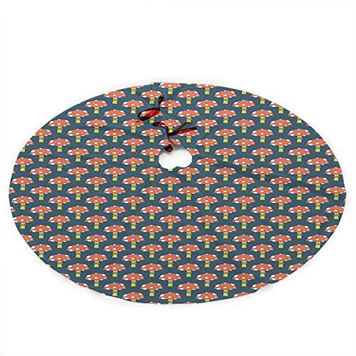 Christmas 36-inch tree skirt soft Christmas tree cushion, Mushroom, Cartoonish Forest Pattern with Amanitas, Burnt Sienna Dark Tealcan be used for Christmas tree holiday decoration