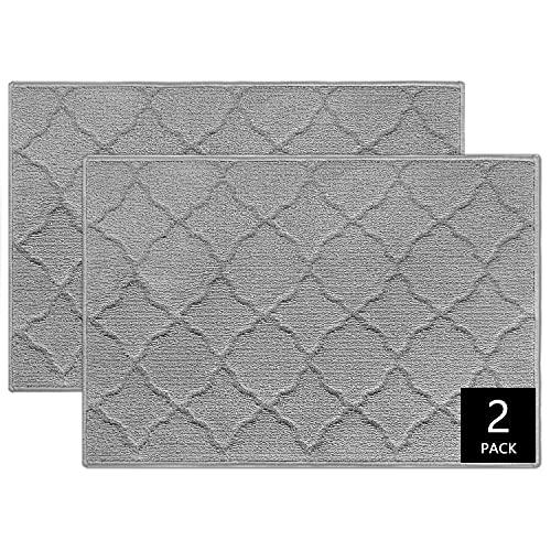 """iOhouze Indoor Outdoor Doormat Grey Trellis, 20""""x 32"""", 2 Packs, Super Absorbent, Non Slip, Low Profile, Machine Washable, Dirt Resistant, Grey Outdoor Rug Welcome Mat for Entryway, Patio"""
