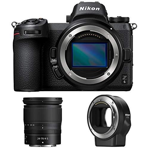 Nikon Z6 24.5MP FX-Format 4K Mirrorless Camera with NIKKOR Z 24-70mm f/4 + FTZ Mount Adapter