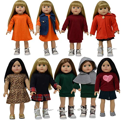 18 inch Doll Clothes Set of 10 pc for American Girl Doll Clothing -fits 18 inch Dolls