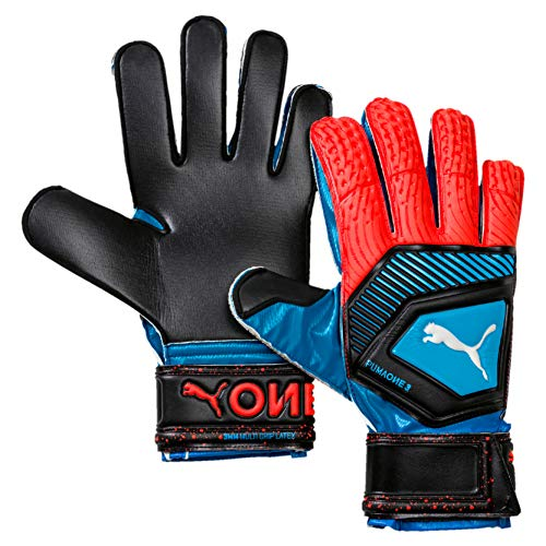 PUMA One Protect 3 Torwarthandschuhe, Bleu Azur-Red Blast Black, 11