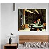 Edward Hopper Sombrero amarillo Mujer Pintura en lienzo Impresiones Sala de estar Decoración del hogar Arte moderno de la pared Pintura al óleo-60x80cm Sin marco