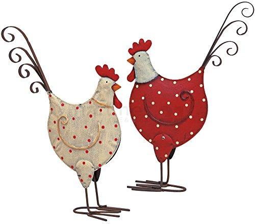 matches21 Hühner/Hennen Dekofiguren Ostern Frühlingsdeko Figuren Metall in weiß & rot mit Punkten 2er Set je 15x25 cm
