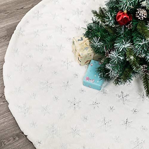 HusDow 35inch witte kerstboom rok, luxe imitatiebont boom rokken met zilveren pailletten sneeuwvlok dikke en pluche boom matten voor kerstvakantie decoraties