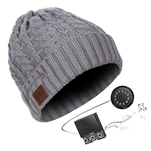 HK Bluetooth Beanie Mütze Waschbare Freizeit Bluetooth Baggy Hats Kopfhörer mit akustischem Stereolautsprecher und Freisprecher-Telefonbeantwortung und bis zu 8 Stunden Wiedergabezeit,Gray
