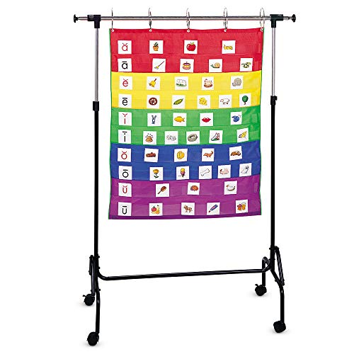 """Learning Resources Adjustable Chart Stand, Pocket Chart Stand for Teachers, 35""""W x 50""""H and Adjusts up to 74""""W x 80""""H"""