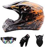 TKYZYY Casco de motocross, de cara completa, para motocross, Quad Crash, certificado por DOT, para descenso, Dirt Bike MX ATV para adultos, guantes de motocicleta, gafas, juego de 4 piezas