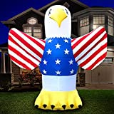 Holidayana 4th of July 8 ft Bald Eagle Inflatable - Fourth of July Inflatable Outdoor Decoration, Independence Day USA Flag Eagle Yard Decor, Bright Lights, Built-in Fan, and Included Stakes and Rope