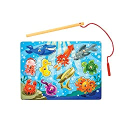 UNDERWATER CHALLENGE: The Melissa & Doug Magnetic Wooden Fishing Game is a puzzle-game combination, made with sturdy wooden pieces. DIVE IN: This fishing puzzle game includes 10 colourful pieces and a fishing pole. PLAY AND LEARN: This activity encou...