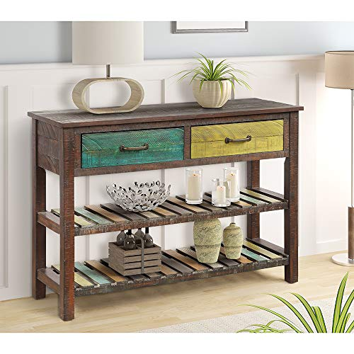 2ci Yanz 2 Drawer Entryway Console Table, Sofa Table for Hallway Foyer, 2-Tier Display Shelf, Multipurpose Rectangular Modern Cabinet Table
