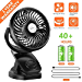 COMLIFE Battery Operated Clip on Portable Fan with 4400mAh Power Bank Feature, Rechargeable Battery Personal Cooling Fan for Baby Stroller, 6-32 Hours Working Time,Stepless Regulation,Strong Airflow (Renewed)