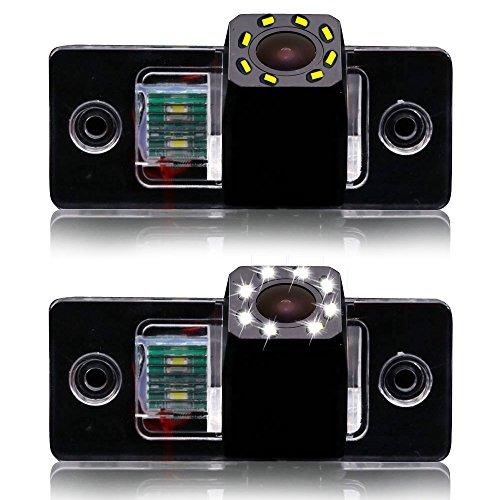 Auto Rückfahrkamera mit 8 LED Kennzeichenleuchte Weitwinkel mit Radar Sensor Einparkhilfe,Nacht Visionen HD Farbe wasserdichte für Tiguan Touareg Santana Golf VI Passat Jetta Polo Skoda