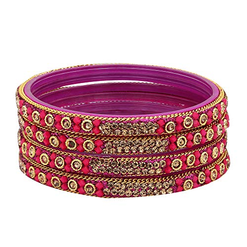 Sukriti Handcrafted Glossy Zircon Crystal Glass Magenta Bangles for Women – Set of 4 | Size: 2.4
