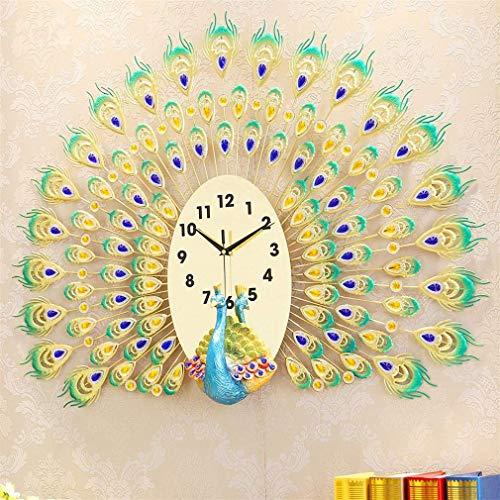MingXinJia Relojes de Cabecera para el Hogar Reloj de Pared, Mesa Colgante de Pavo Real Carcasa de Metal Decorativa + Relojes de Espejo Acrílico Reloj para Sala de Estar Arte de Pared para el Hogar D