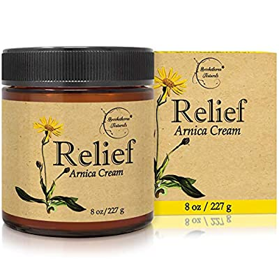 Relief Arnica Cream ? Enriched with Lemongrass, Eucalyptus & Rosemary Essential Oils ? All Natural Massage Lotion for Sore Muscles & Stiffness. Perfect for Massage Therapy by Brookethorne Naturals