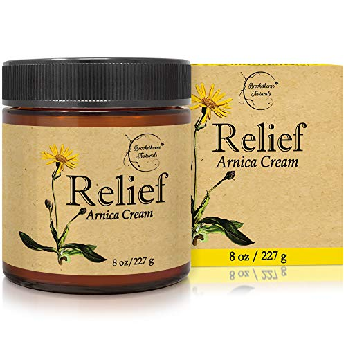 Relief Arnica Cream - Enriched with Lemongrass, Eucalyptus & Rosemary Essential Oils - All Natural Massage Lotion for Sore Muscles & Stiffness. Perfect for Massage Therapy by Brookethorne Naturals