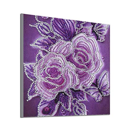 BOIYI 5D Flowers Diamond Painting Full Kits DIY Round Full Drill Art Handmade Rhinestone Embroidery Cross-Stitching Set Home Wall Decor(Purple,25x25cm)