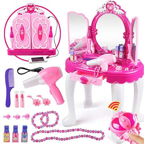 Frisierkommode für Mädchen, Schminktisch mit Haartrockner Schmuck und Kosmetik für Kinder Mädchen Rollenspielen, Spielzeugset für Kinder 2, 3, 4 Jahren