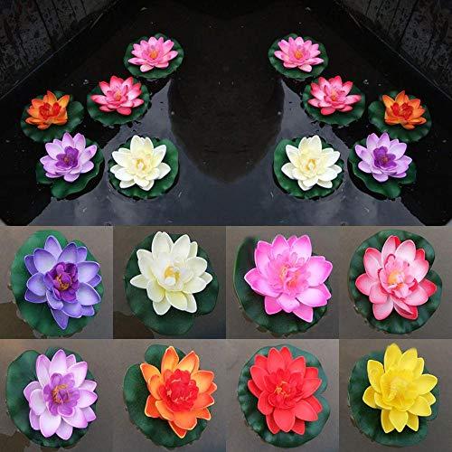 Uteruik Schwimmende Teichdekoration, künstliche Lilie/Lotusblume, 10 cm, 8 Stück