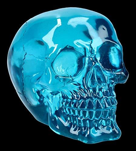 Figuren Shop GmbH Gothic Totenkopf - transparent, blau, massiv, schwer | Fantasy Skull, Totenschädel, Kopf-Skulptur, Deko-Figur, Deko-Artikel, H 12 cm