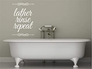 pikaaq Removable Vinyl Wall Stickers Act Mural Decal Art Home Decor Bathroom Wall Quote Lather Rinse Repeat for Bathroom Washroom