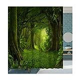 MaxAst Wald Duschvorhang Anti Schimmel, Grün Badewanne Vorhang 120x180CM, Antibakteriell Wasserdicht mit Kunststoff Ringe Kein Rost