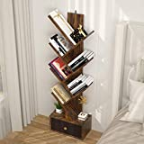 Tree Bookshelf with Drawers, 7-Shelf Floor Standing Bookcase, Unique Storage Organizer Shelves for Books, CDs Albums, DVDs, Modern Display Shelf Wood Media Storage Rack for Home Office, Rustic Brown