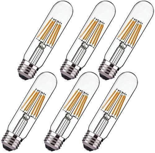 Dimmable Edison Tube LED Bulb T10 ,Warm White 3000K,6W Nostalgic Filament LED Bulbs, E26 Base, 60 Watt Bulb Equivalent, 550LM,Clear Glass Cover, Pack of 6