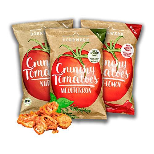 Tomaten Gemüse Chips 3er Set aus getrockneten Tomaten I Leicht, knusprig und knackiger Snack mit leckerer Würzung in 3 Geschmacksrichtungen I Vegan, Gluetenfrei Low Carb