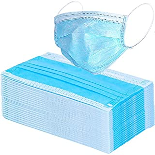 Wecolor 100 Pack 3 Ply Disposable Face Masks (Blue)