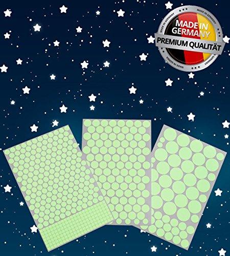 Paraboo 524 Leuchpunkte/Leuchtsterne für deinen Sternenhimmel - Premium Qualität Made in Germany - Aufkleber selbstleuchtend